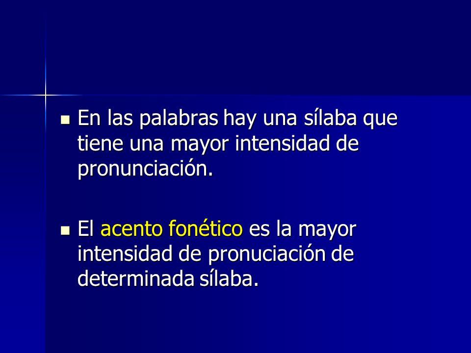 En las palabras hay una sílaba que tiene una mayor intensidad de pronunciación. En las palabras hay una sílaba que tiene una mayor intensidad de pronu