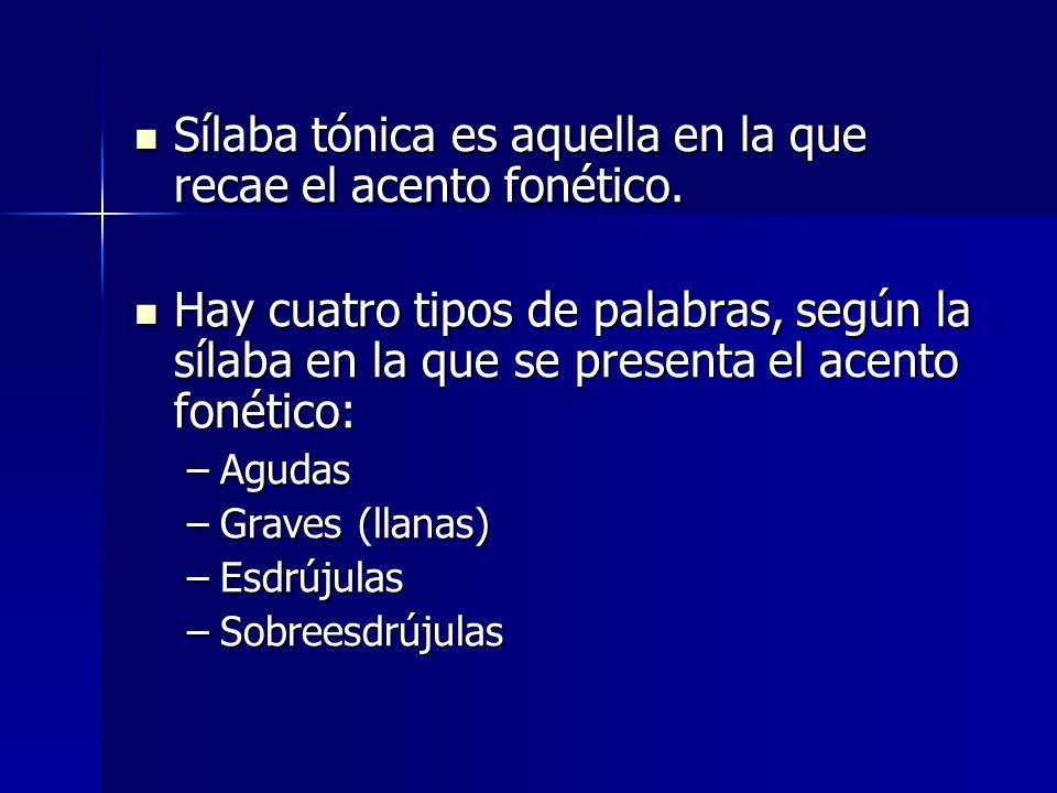 Sílaba tónica es aquella en la que recae el acento fonético. Sílaba tónica es aquella en la que recae el acento fonético. Hay cuatro tipos de palabras