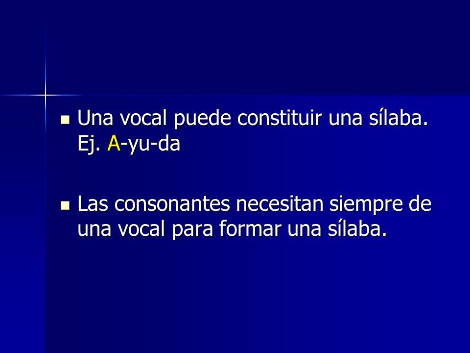 Una vocal puede constituir una sílaba. Ej. A-yu-da Una vocal puede constituir una sílaba. Ej. A-yu-da Las consonantes necesitan siempre de una vocal p