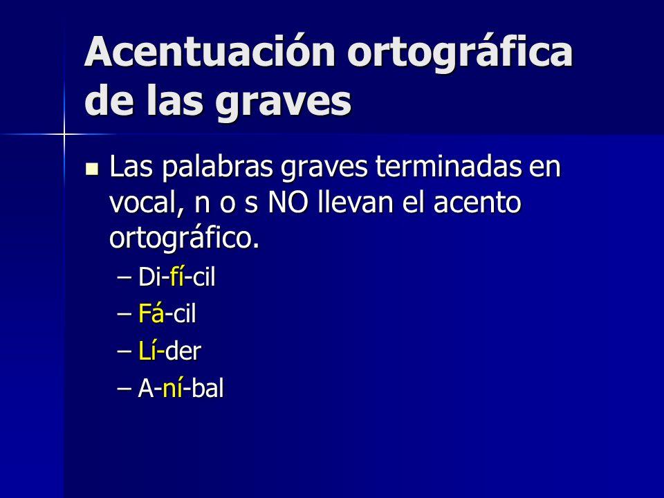 Acentuación ortográfica de las graves Las palabras graves terminadas en vocal, n o s NO llevan el acento ortográfico. Las palabras graves terminadas e