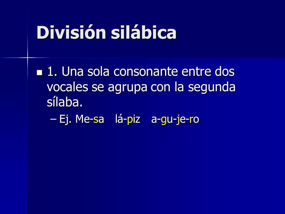 División silábica 1. Una sola consonante entre dos vocales se agrupa con la segunda sílaba. 1. Una sola consonante entre dos vocales se agrupa con la