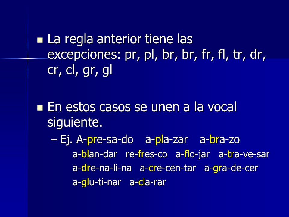 La regla anterior tiene las excepciones: pr, pl, br, br, fr, fl, tr, dr, cr, cl, gr, gl La regla anterior tiene las excepciones: pr, pl, br, br, fr, f