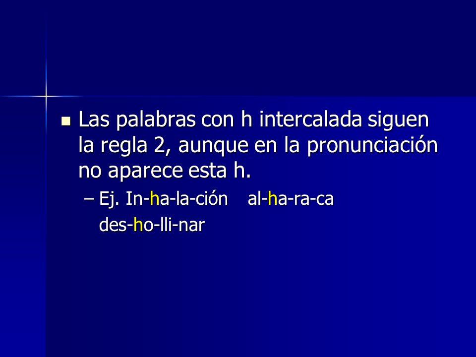 Las palabras con h intercalada siguen la regla 2, aunque en la pronunciación no aparece esta h. Las palabras con h intercalada siguen la regla 2, aunq