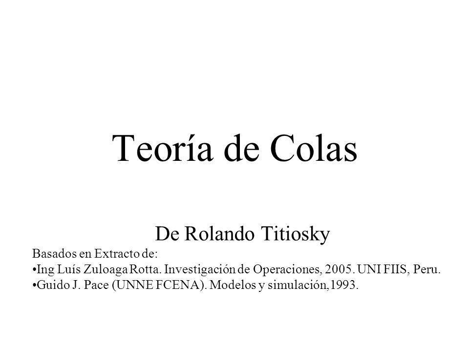 Teoría de Colas De Rolando Titiosky Basados en Extracto de: Ing Luís Zuloaga Rotta. Investigación de Operaciones, 2005. UNI FIIS, Peru. Guido J. Pace