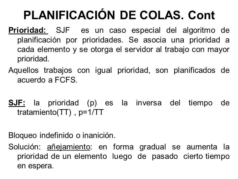 PLANIFICACIÓN DE COLAS. Cont Prioridad: SJF es un caso especial del algoritmo de planificación por prioridades. Se asocia una prioridad a cada element