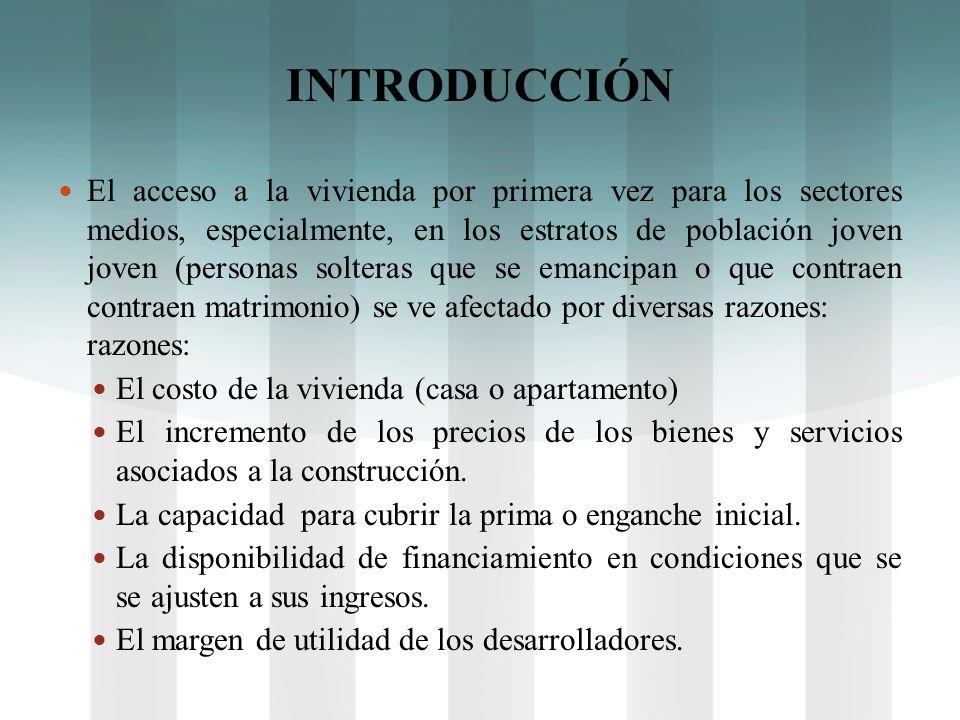 INTRODUCCIÓN El acceso a la vivienda por primera vez para los sectores medios, especialmente, en los estratos de población joven (personas solteras qu