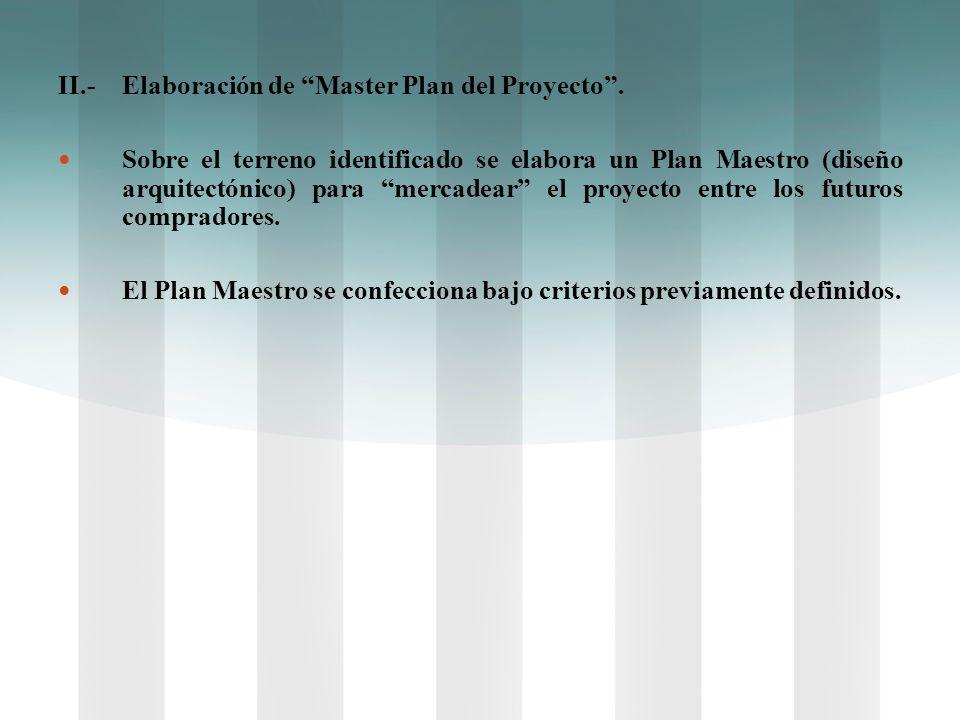 II.-Elaboración de Master Plan del Proyecto. Sobre el terreno identificado se elabora un Plan Maestro (diseño arquitectónico) para mercadear el proyec