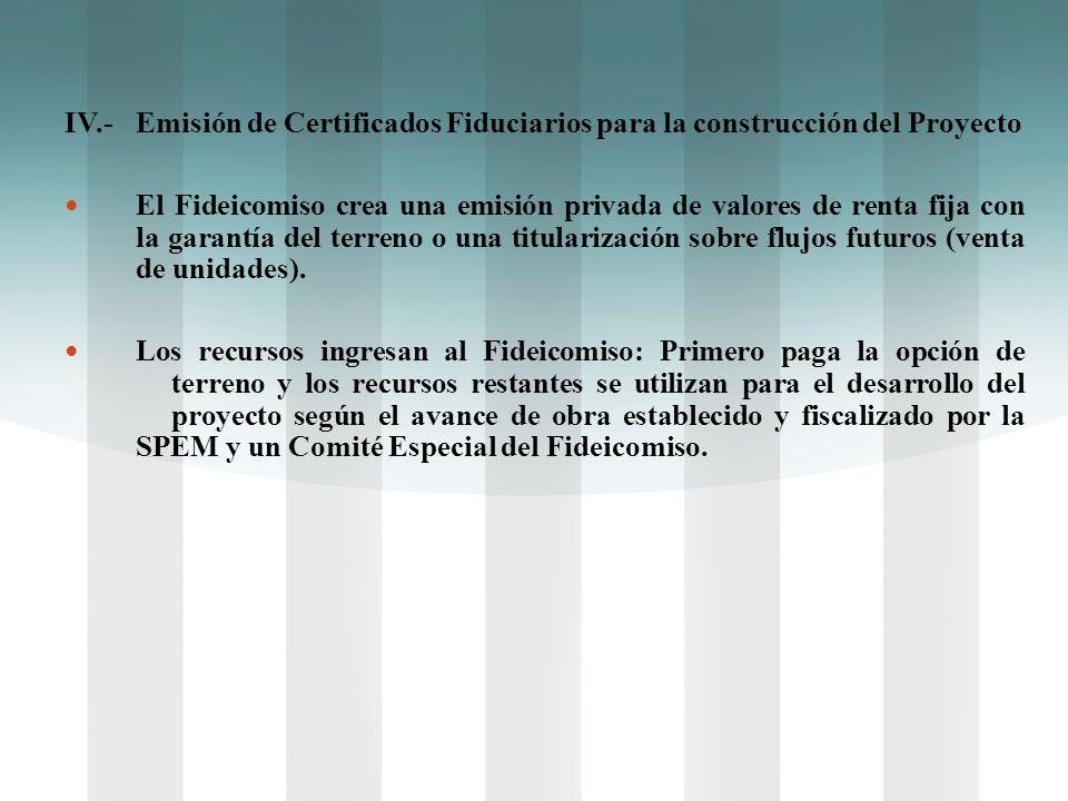 IV.-Emisión de Certificados Fiduciarios para la construcción del Proyecto El Fideicomiso crea una emisión privada de valores de renta fija con la gara