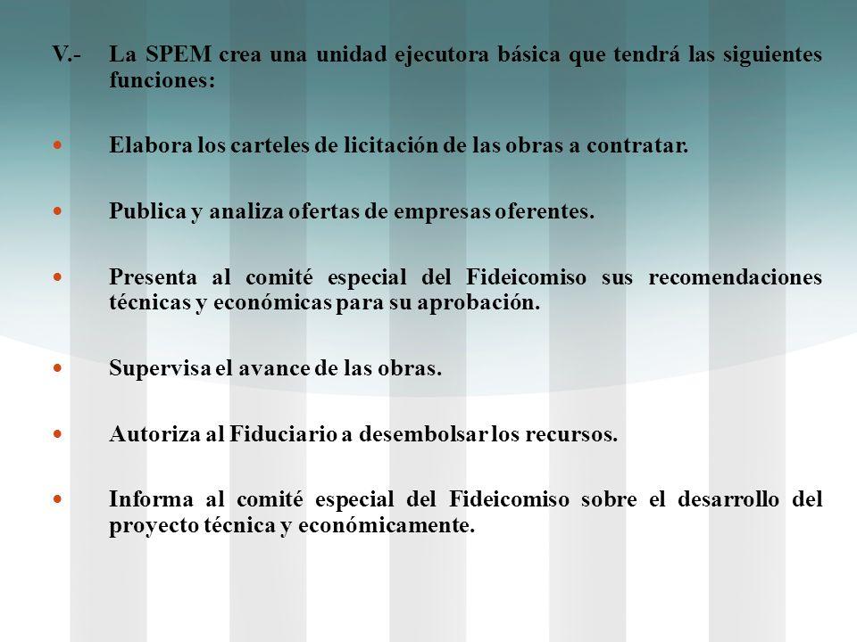 V.- La SPEM crea una unidad ejecutora básica que tendrá las siguientes funciones: Elabora los carteles de licitación de las obras a contratar. Publica