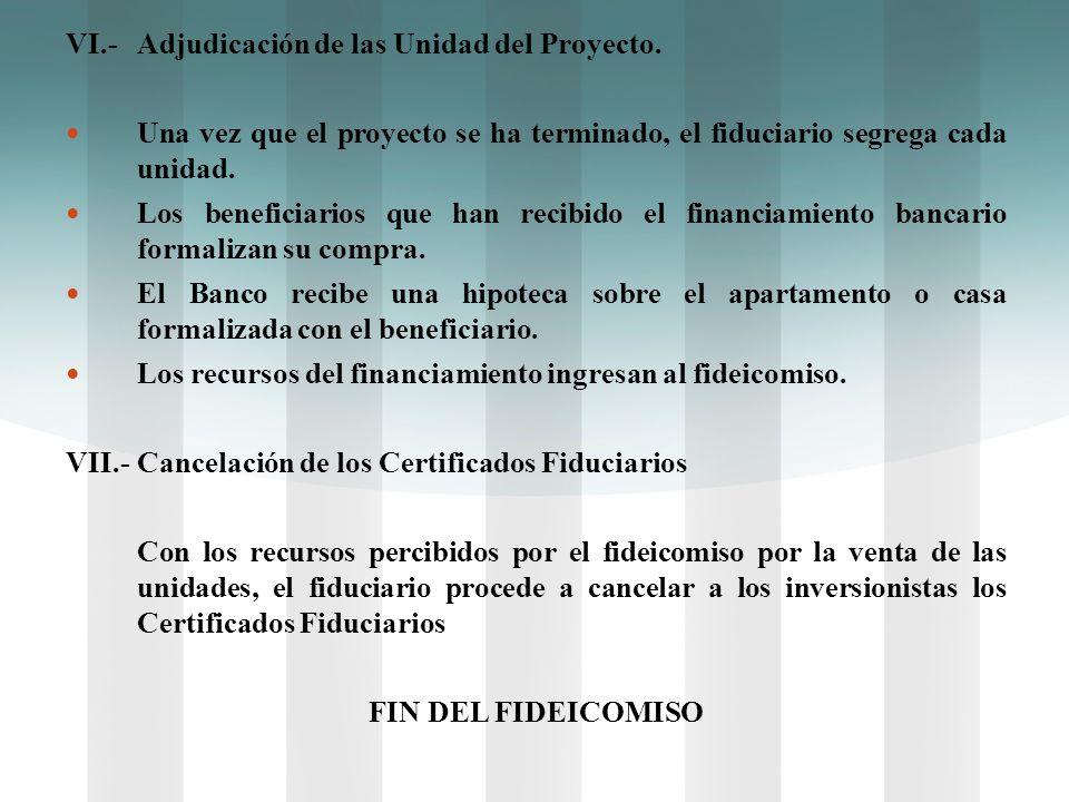 VI.-Adjudicación de las Unidad del Proyecto. Una vez que el proyecto se ha terminado, el fiduciario segrega cada unidad. Los beneficiarios que han rec