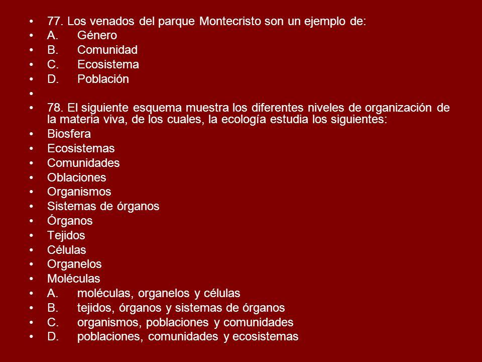 77. Los venados del parque Montecristo son un ejemplo de: A.Género B.Comunidad C.Ecosistema D.Población 78. El siguiente esquema muestra los diferente
