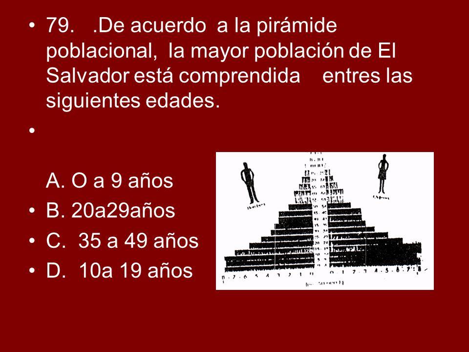 79..De acuerdo a la pirámide poblacional, la mayor población de El Salvador está comprendida entres las siguientes edades. A. O a 9 años B. 20a29años