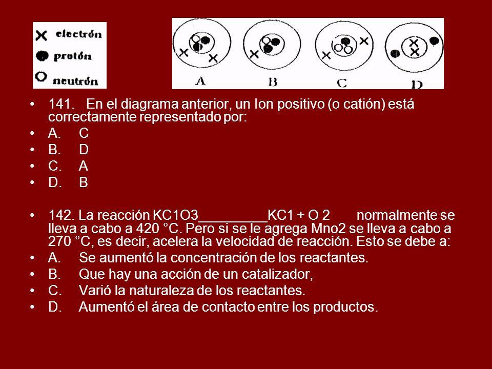 141. En el diagrama anterior, un Ion positivo (o catión) está correctamente representado por: A.C B.D C.A D.B 142. La reacción KC1O3_________KC1 + O 2