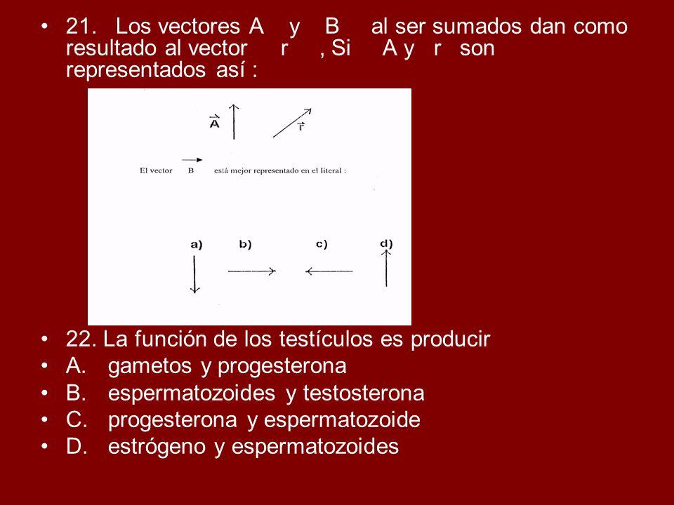 21. Los vectores A y B al ser sumados dan como resultado al vector r, Si A y r son representados así : 22. La función de los testículos es producir A.