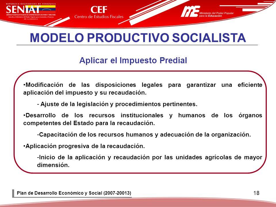 18 MODELO PRODUCTIVO SOCIALISTA Aplicar el Impuesto Predial Modificación de las disposiciones legales para garantizar una eficiente aplicación del imp