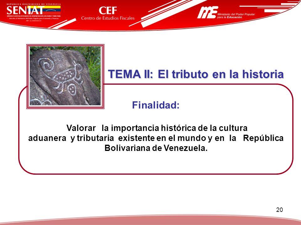 20 TEMA II: El tributo en la historia TEMA II: El tributo en la historia Finalidad: Valorar la importancia histórica de la cultura aduanera y tributar