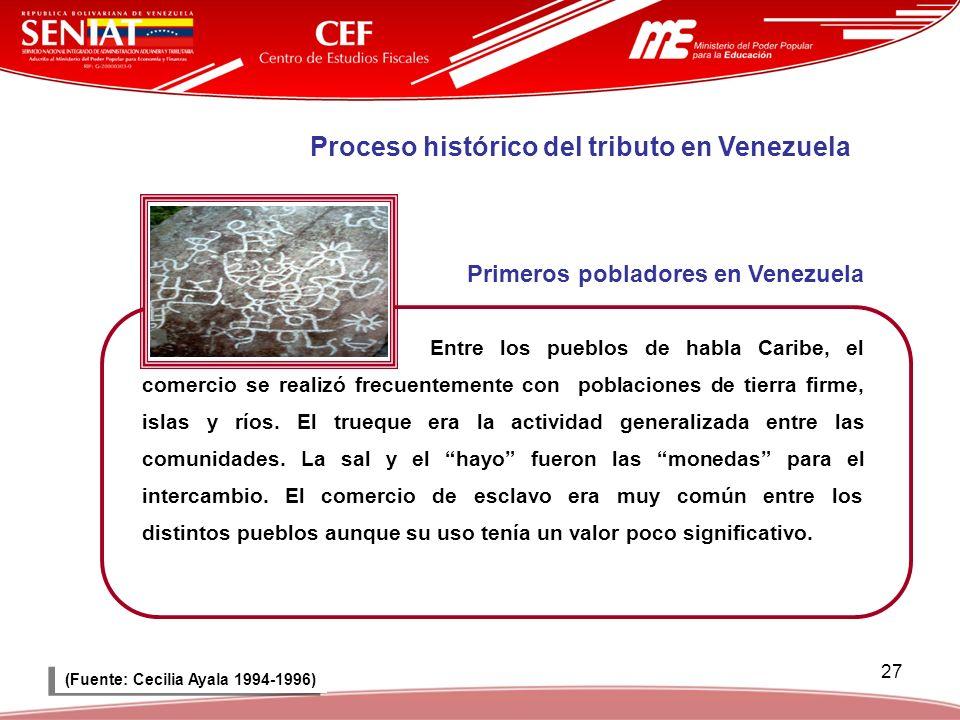 27 Proceso histórico del tributo en Venezuela Primeros pobladores en Venezuela Entre los pueblos de habla Caribe, el comercio se realizó frecuentement