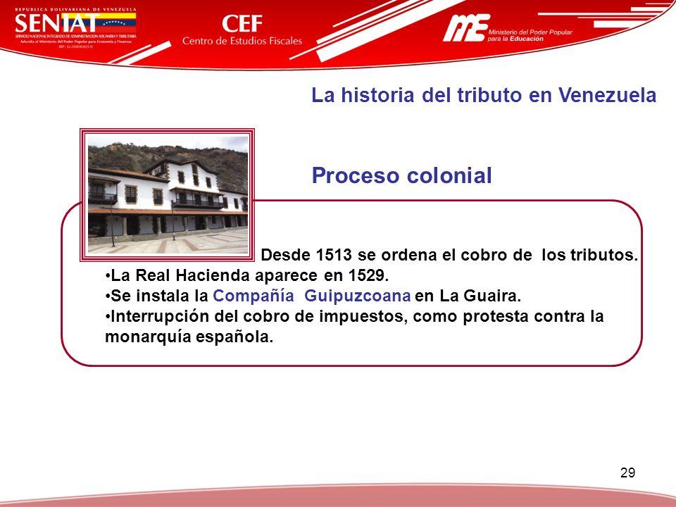 29 La historia del tributo en Venezuela Desde 1513 se ordena el cobro de los tributos. La Real Hacienda aparece en 1529. Se instala la Compañía Guipuz