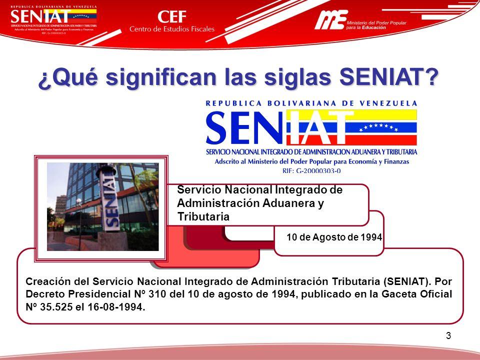 3 ¿Qué significan las siglas SENIAT? Servicio Nacional Integrado de Administración Aduanera y Tributaria 10 de Agosto de 1994 Creación del Servicio Na