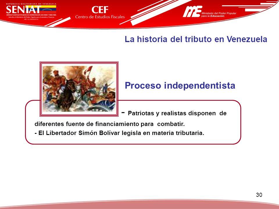 30 - Patriotas y realistas disponen de diferentes fuente de financiamiento para combatir. - El Libertador Simón Bolívar legisla en materia tributaria.