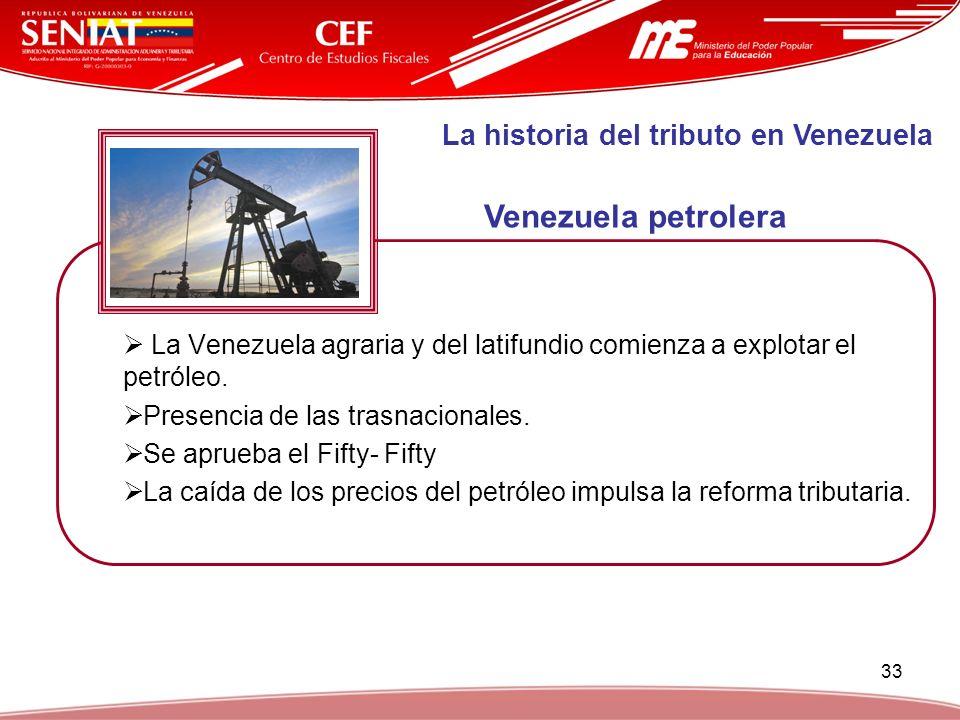 33 La Venezuela agraria y del latifundio comienza a explotar el petróleo. Presencia de las trasnacionales. Se aprueba el Fifty- Fifty La caída de los