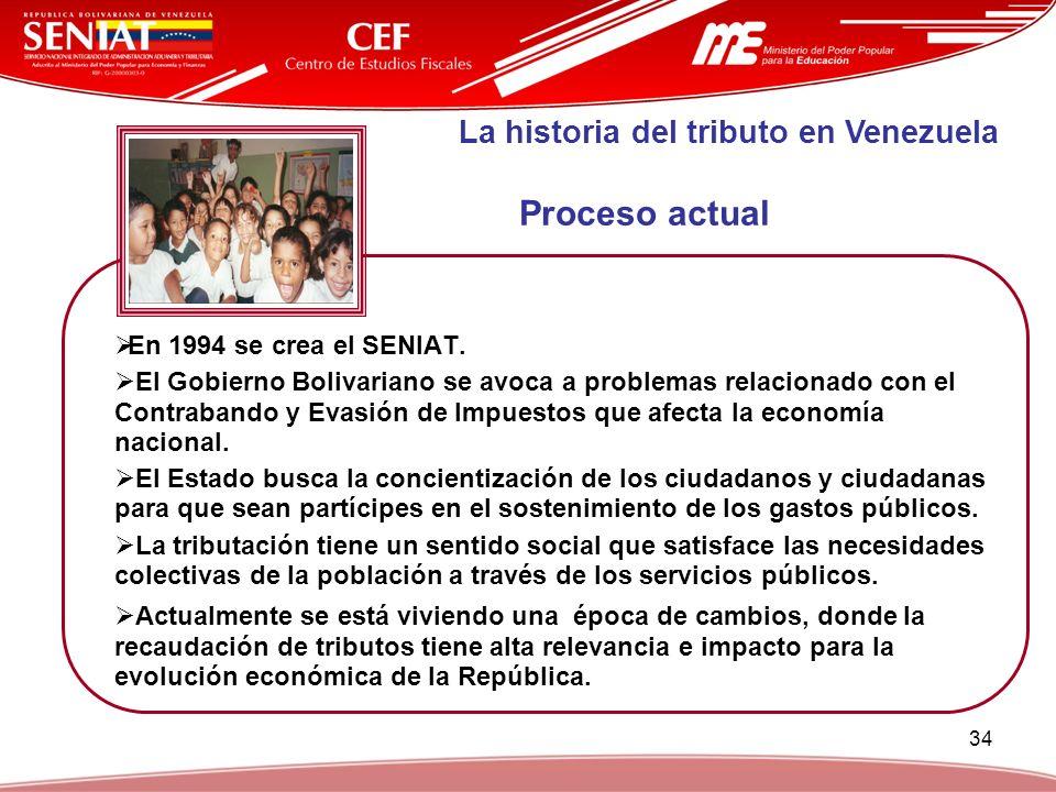 34 En 1994 se crea el SENIAT. El Gobierno Bolivariano se avoca a problemas relacionado con el Contrabando y Evasión de Impuestos que afecta la economí