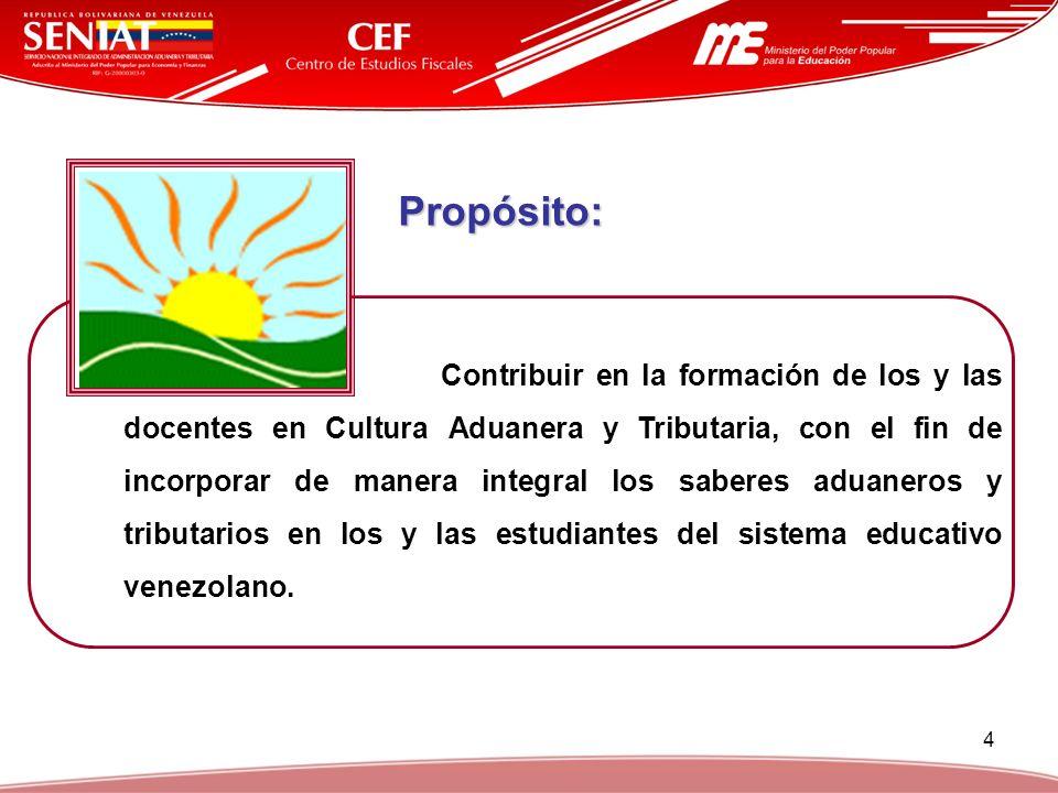 4 Propósito: Contribuir en la formación de los y las docentes en Cultura Aduanera y Tributaria, con el fin de incorporar de manera integral los sabere