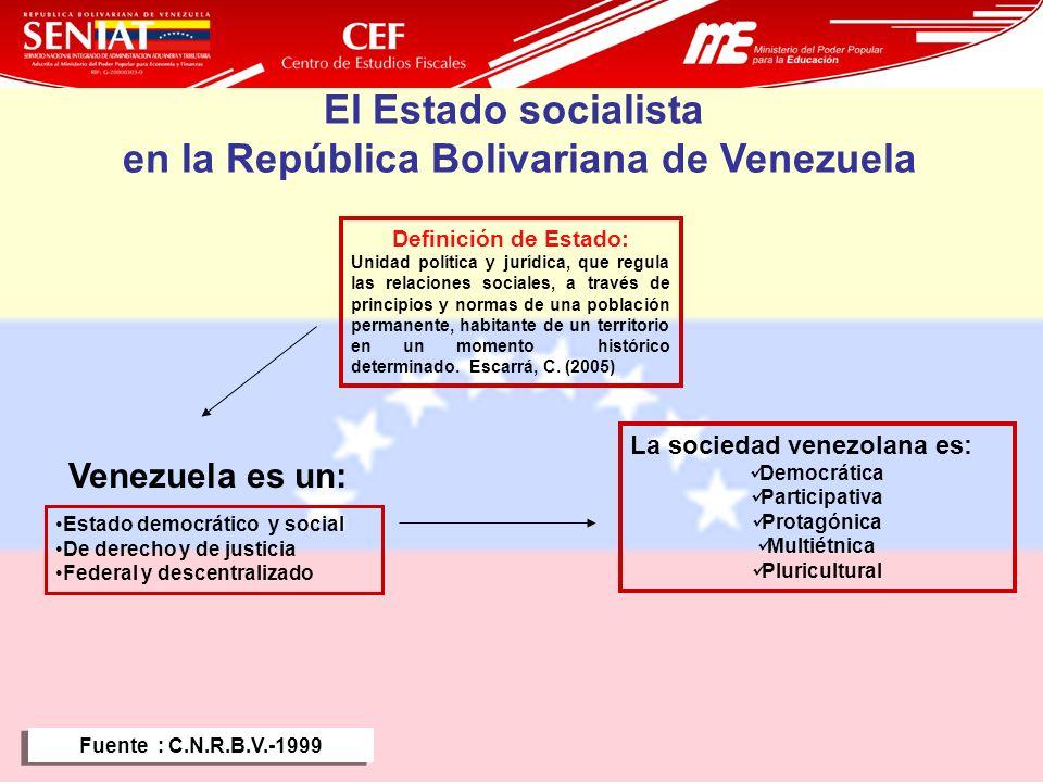 7 El Estado socialista en la República Bolivariana de Venezuela Estado democrático y social De derecho y de justicia Federal y descentralizado La soci