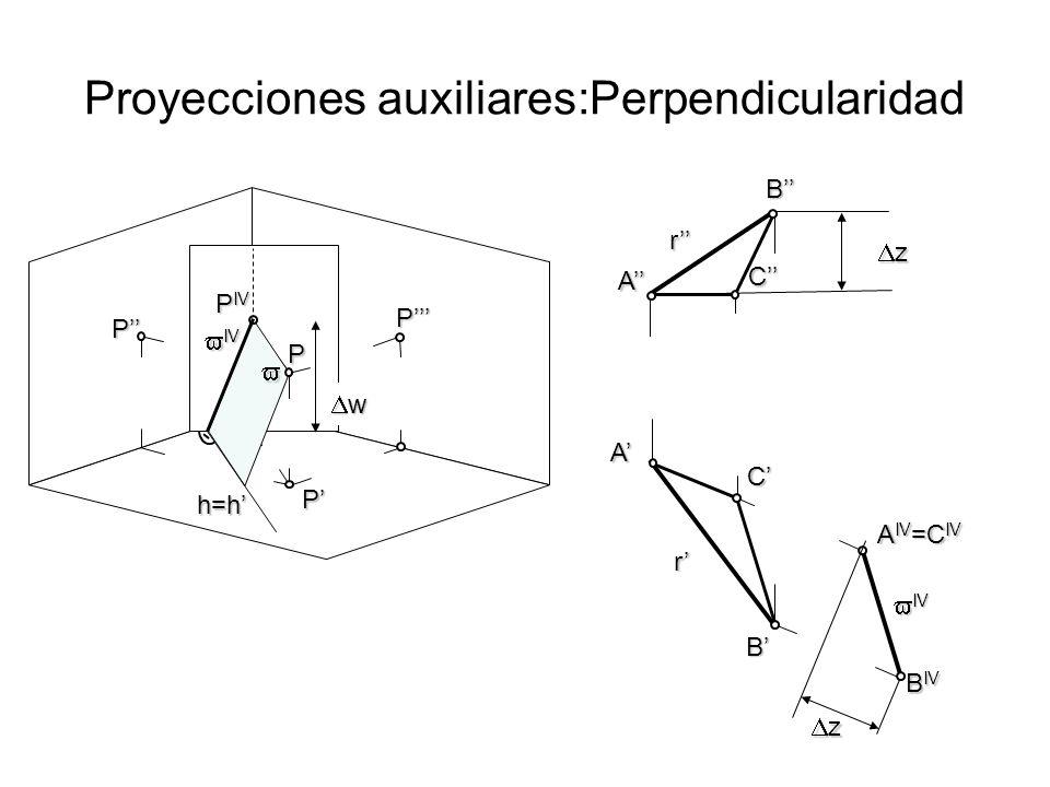 Proyecciones auxiliares: Paralelismo w z 1 z 1 r r B B A IV P P P P IV P h=h IV IV C A B IV A C z 2 z 2 C IV z 2 z 2 Verdadera Magnitud