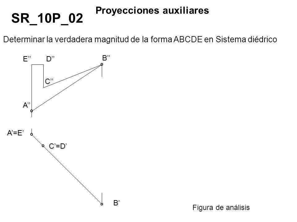 Determinar la verdadera magnitud de la forma ABCDE en Sistema diédrico SR_10P_02 Proyecciones auxiliares Figura de análisis A A=E B ED C C=D B