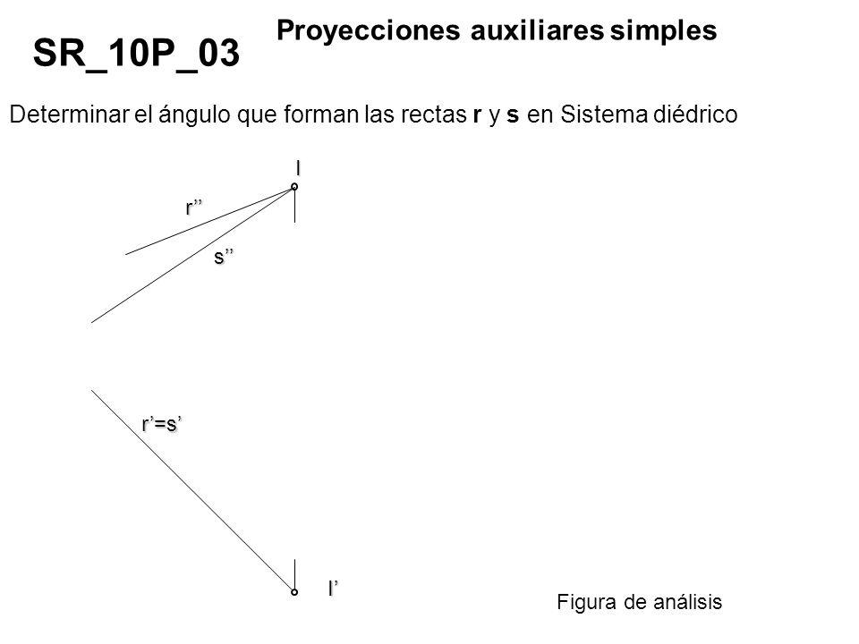 Determinar el ángulo que forman las rectas r y s en Sistema diédrico SR_10P_04 Proyecciones auxiliares múltiples Figura de análisis I s r r I s