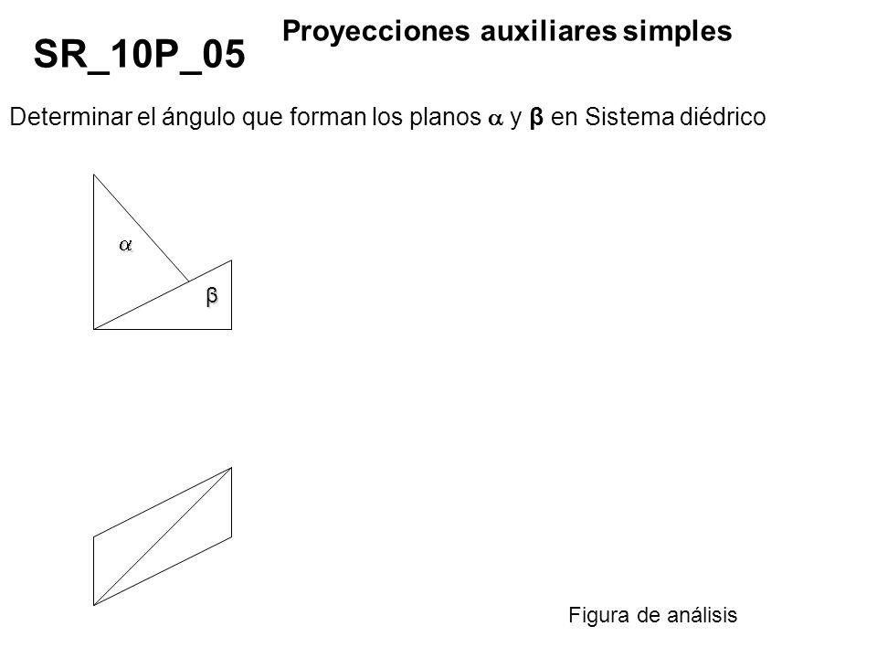 Determinar el ángulo que forman los planos y β en Sistema diédrico SR_10P_05 Proyecciones auxiliares simples Figura de análisis β