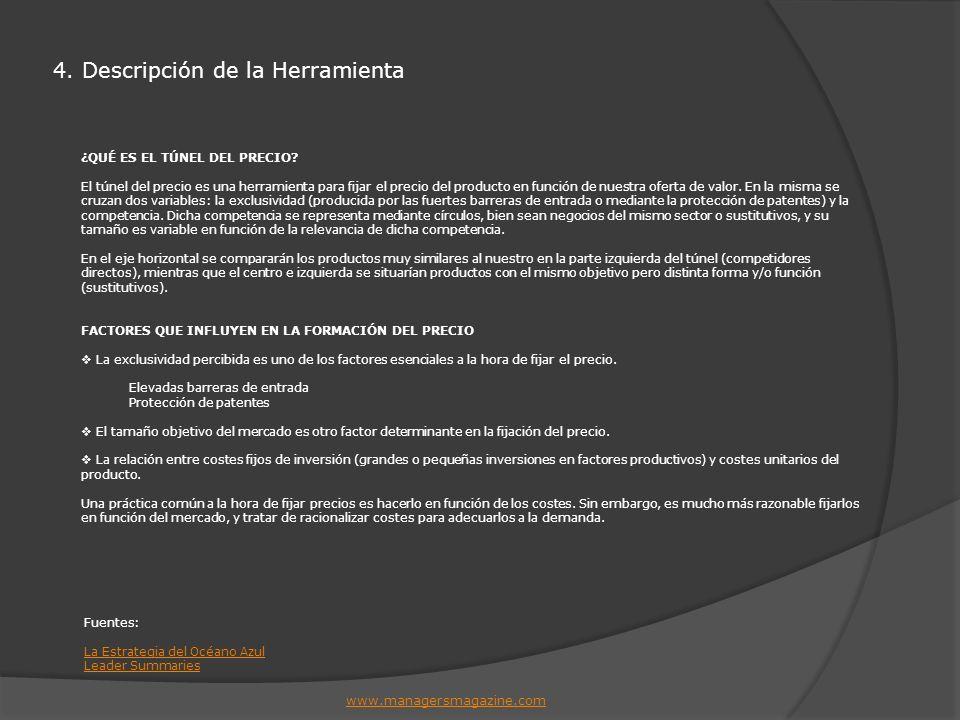 4. Descripción de la Herramienta www.managersmagazine.com ¿QUÉ ES EL TÚNEL DEL PRECIO? El túnel del precio es una herramienta para fijar el precio del