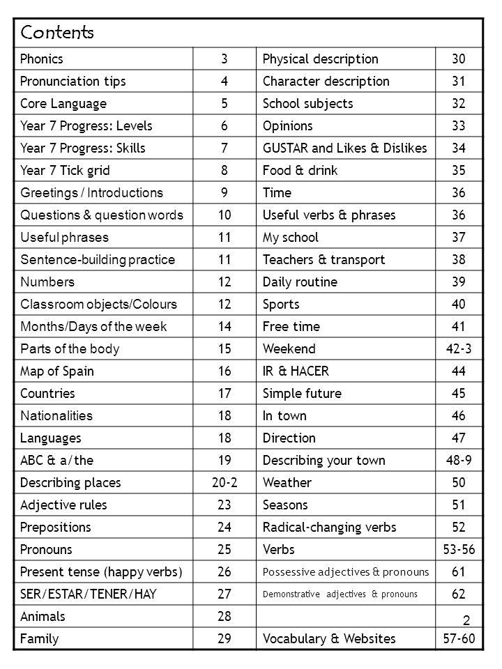 2 Contents Phonics3Physical description30 Pronunciation tips4Character description31 Core Language5School subjects32 Year 7 Progress: Levels6Opinions3