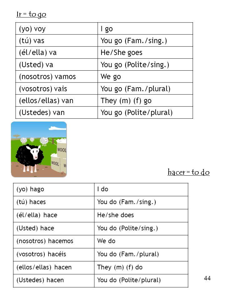 44 Ir = to go (yo) voyI go (tú) vasYou go (Fam./sing.) (él/ella) vaHe/She goes (Usted) vaYou go (Polite/sing.) (nosotros) vamosWe go (vosotros) vaisYo