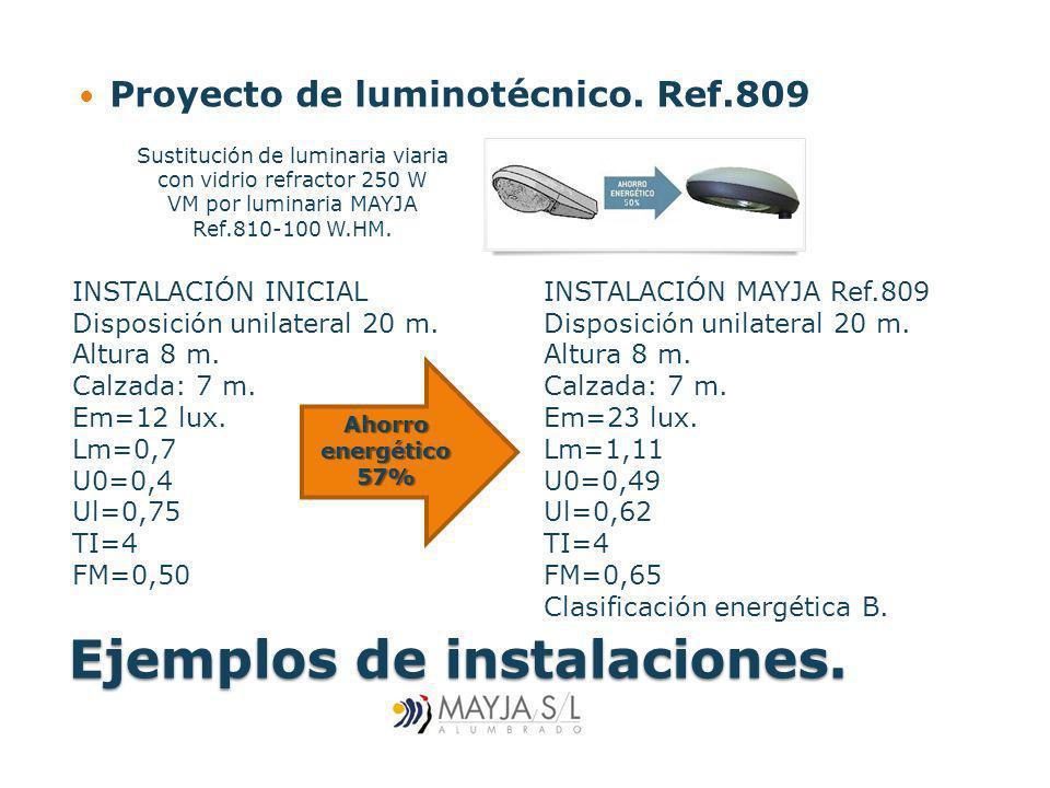 Ejemplos de instalaciones. Proyecto de luminotécnico. Ref.809 INSTALACIÓN MAYJA Ref.809 Disposición unilateral 20 m. Altura 8 m. Calzada: 7 m. Em=23 l
