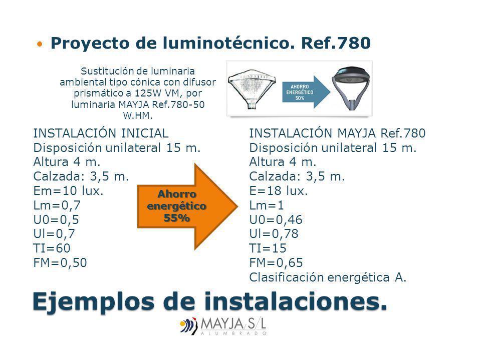 Ejemplos de instalaciones. Proyecto de luminotécnico. Ref.780 INSTALACIÓN MAYJA Ref.780 Disposición unilateral 15 m. Altura 4 m. Calzada: 3,5 m. E=18
