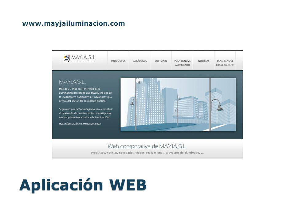 Aplicación WEB www.mayjailuminacion.com
