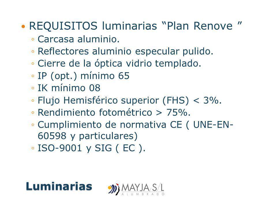 Luminarias Luminarias REQUISITOS luminarias Plan Renove Carcasa aluminio. Reflectores aluminio especular pulido. Cierre de la óptica vidrio templado.