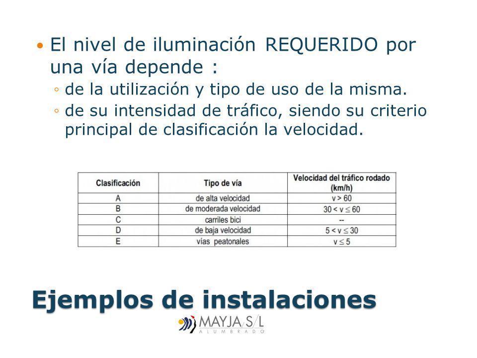Ejemplos de instalaciones El nivel de iluminación REQUERIDO por una vía depende : de la utilización y tipo de uso de la misma. de su intensidad de trá