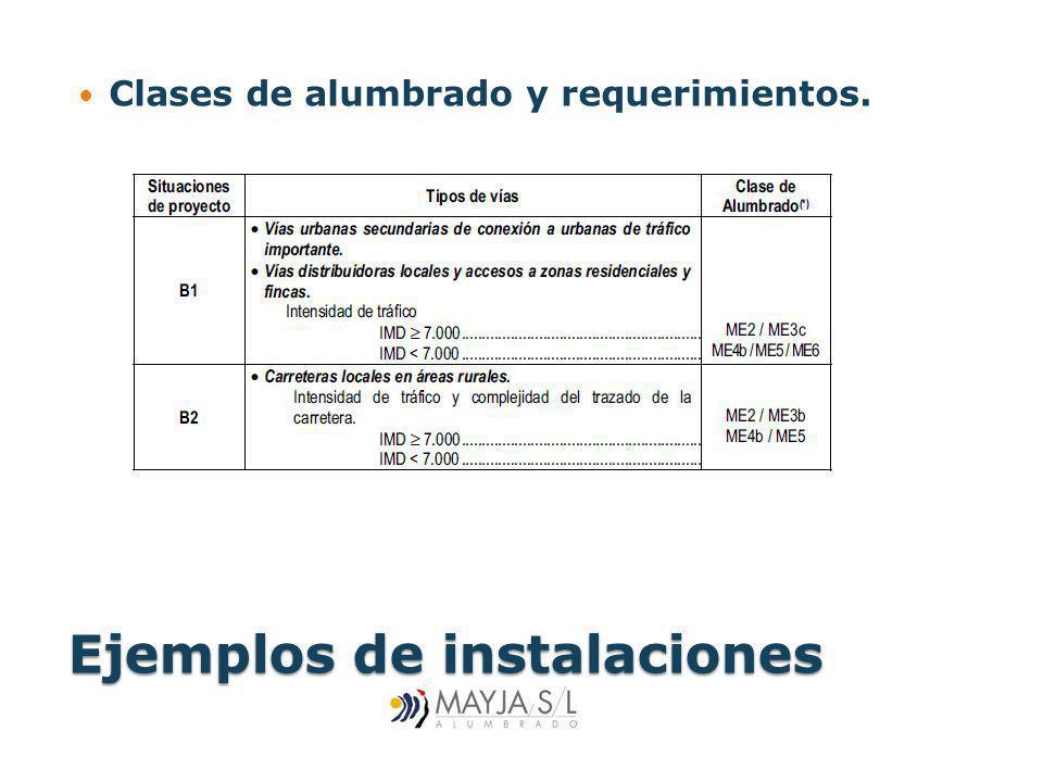 Ejemplos de instalaciones Clases de alumbrado y requerimientos.