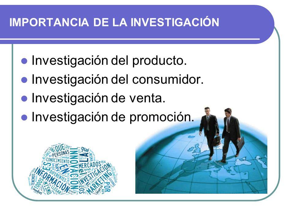 IMPORTANCIA DE LA INVESTIGACIÓN Investigación del producto. Investigación del consumidor. Investigación de venta. Investigación de promoción.