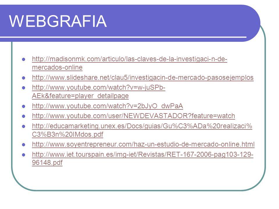 WEBGRAFIA http://madisonmk.com/articulo/las-claves-de-la-investigaci-n-de- mercados-online http://madisonmk.com/articulo/las-claves-de-la-investigaci-