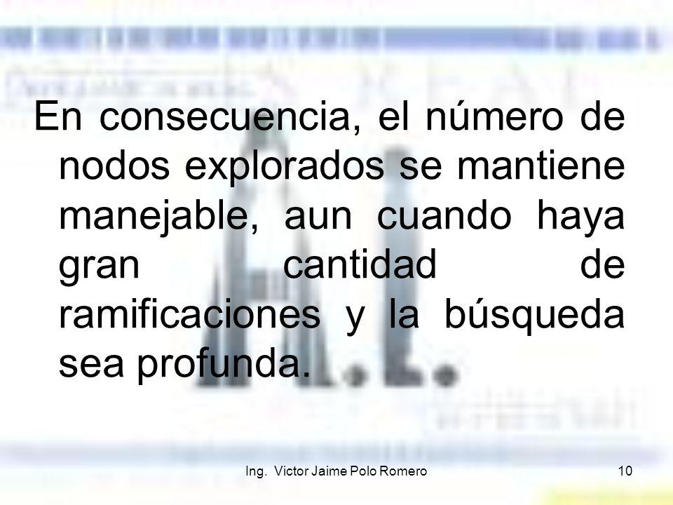 Ing. Victor Jaime Polo Romero10 En consecuencia, el número de nodos explorados se mantiene manejable, aun cuando haya gran cantidad de ramificaciones