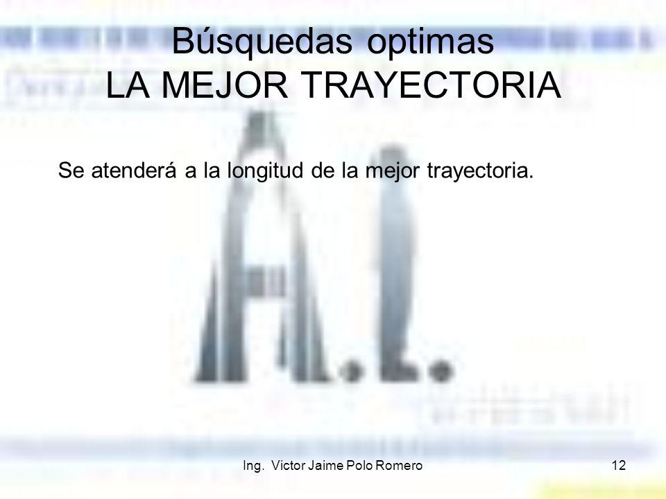 Ing. Victor Jaime Polo Romero12 Búsquedas optimas LA MEJOR TRAYECTORIA Se atenderá a la longitud de la mejor trayectoria.