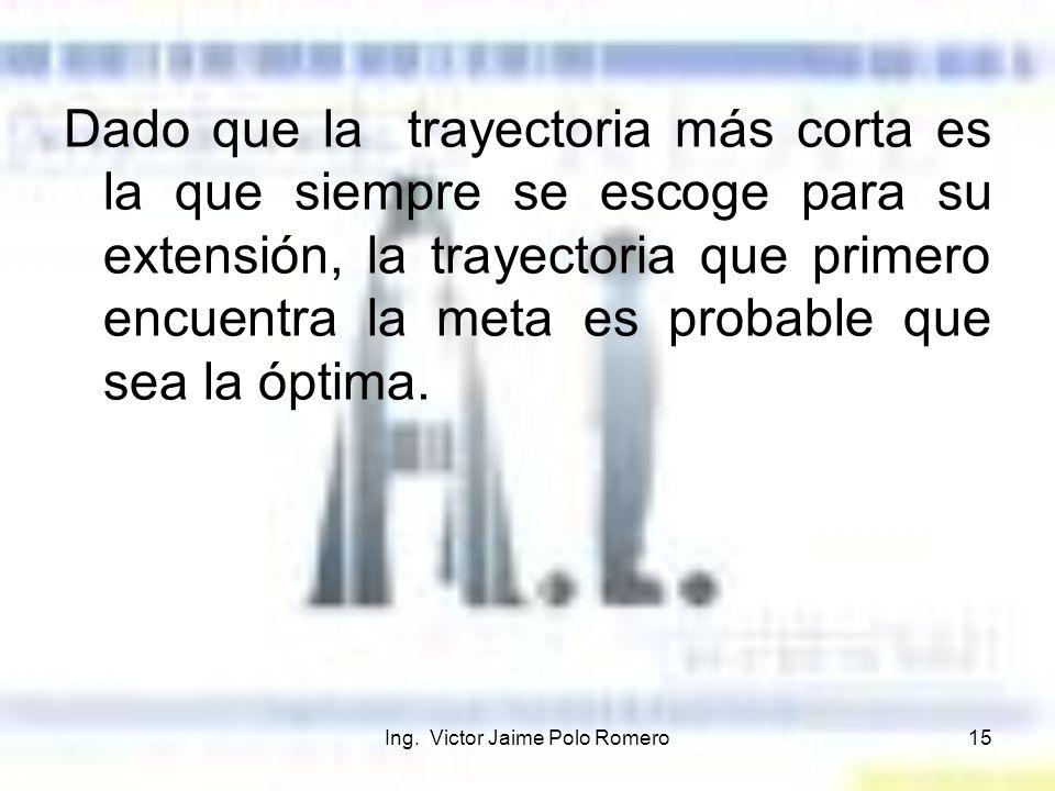 Ing. Victor Jaime Polo Romero15 Dado que la trayectoria más corta es la que siempre se escoge para su extensión, la trayectoria que primero encuentra