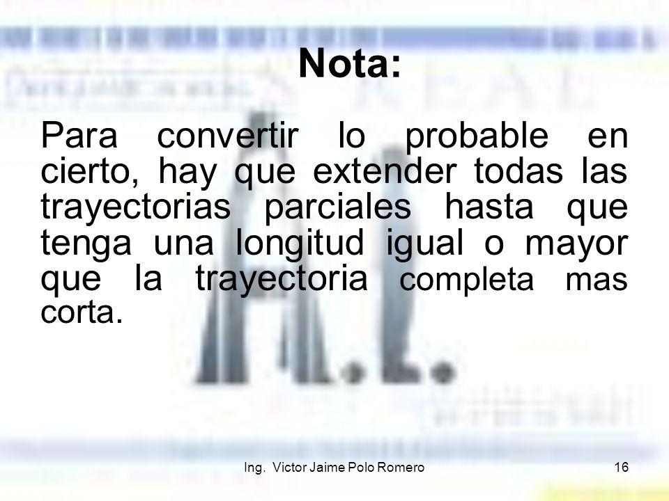 Ing. Victor Jaime Polo Romero16 Nota: Para convertir lo probable en cierto, hay que extender todas las trayectorias parciales hasta que tenga una long