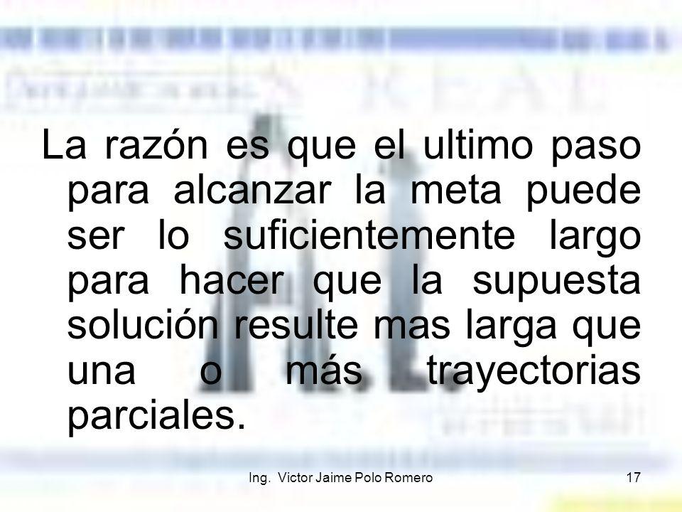 Ing. Victor Jaime Polo Romero17 La razón es que el ultimo paso para alcanzar la meta puede ser lo suficientemente largo para hacer que la supuesta sol