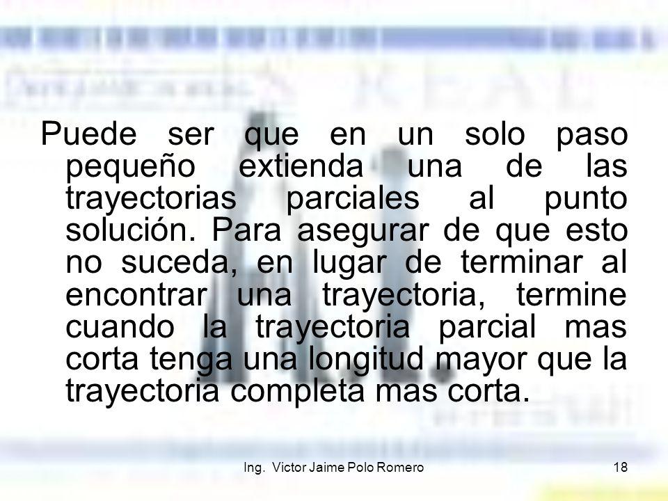 Ing. Victor Jaime Polo Romero18 Puede ser que en un solo paso pequeño extienda una de las trayectorias parciales al punto solución. Para asegurar de q