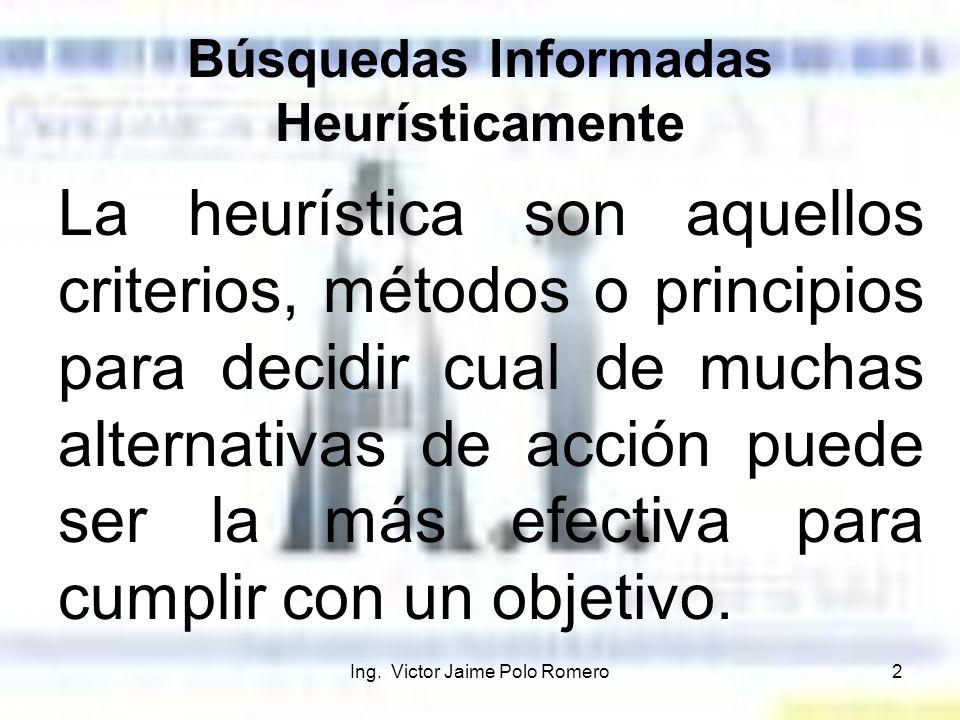 Ing. Victor Jaime Polo Romero2 Búsquedas Informadas Heurísticamente La heurística son aquellos criterios, métodos o principios para decidir cual de mu